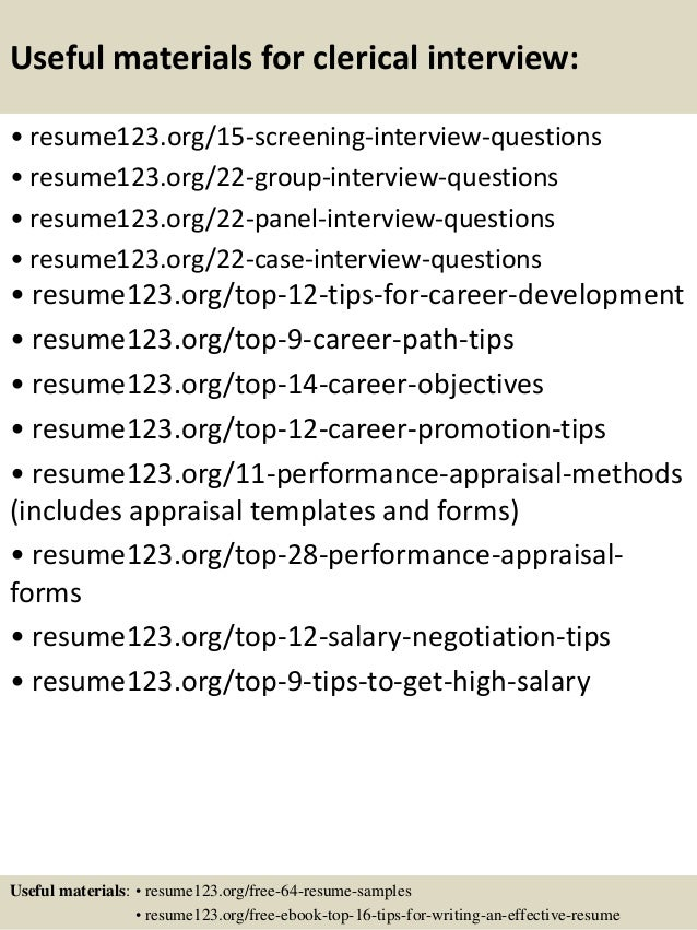 clerical resume