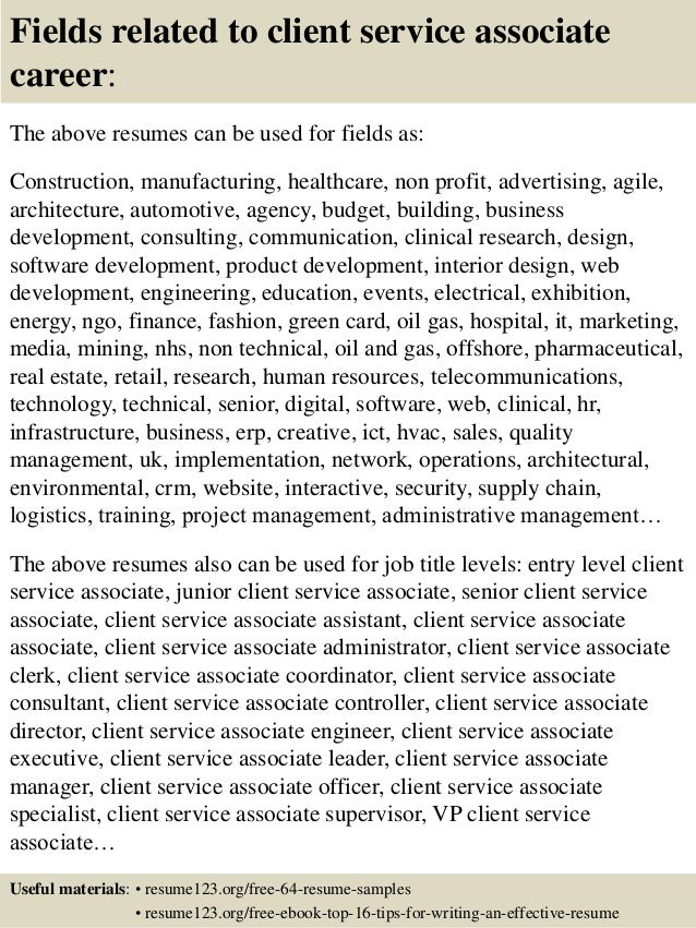 ... 16. Fields related to client service associate ...
