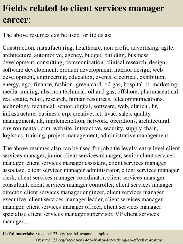 top 8 client services manager resume samples