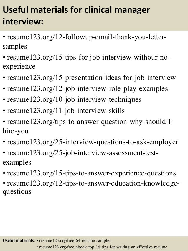 clinical director resume top 8 clinical director resume samples 1 - Clinical Manager Sample Resume