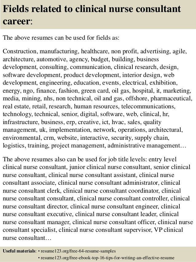 ... 16. Fields Related To Clinical Nurse Consultant ...