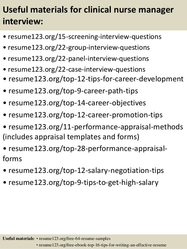 ... 15. Useful Materials For Clinical Nurse Manager ...  Nurse Manager Resume Examples