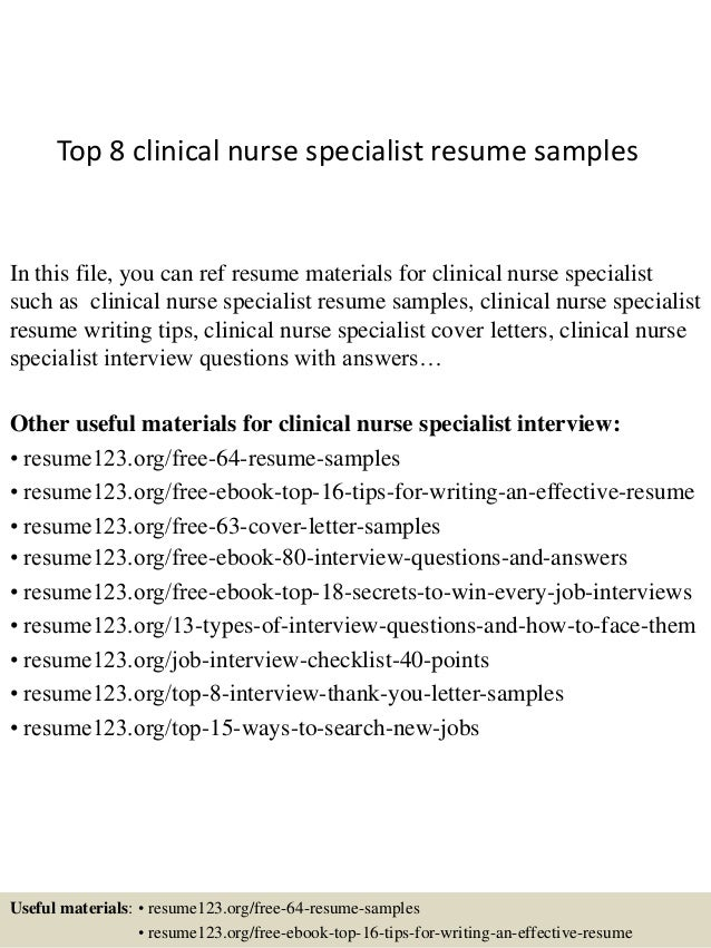 top 8 clinical nurse specialist resume samples