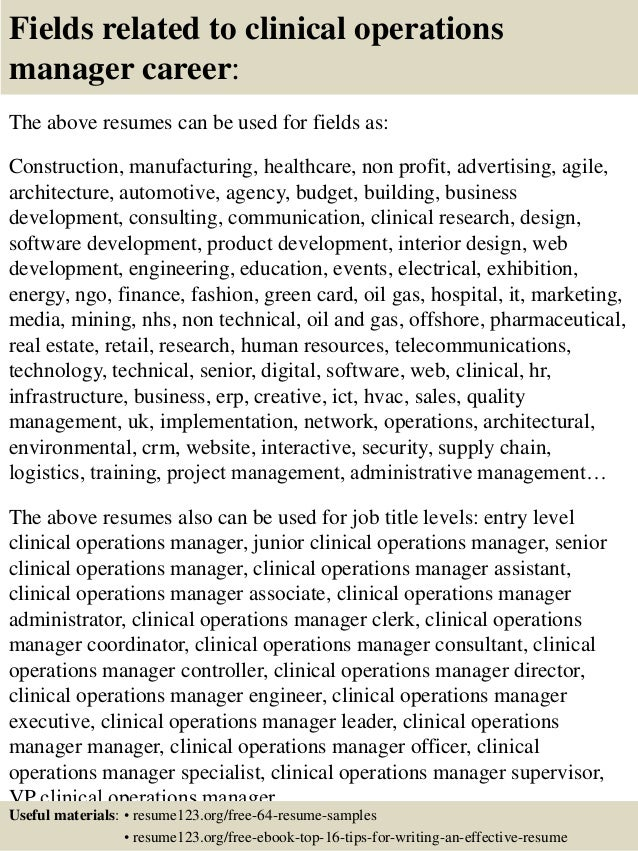 16 fields related to clinical operations manager - Operations Director Resume Sample