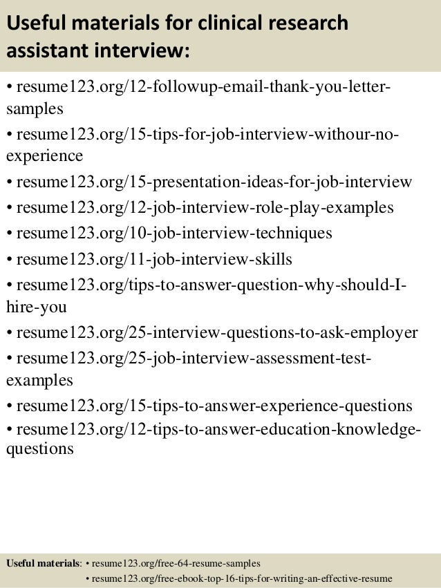 ... 14. Useful Materials For Clinical Research Assistant ...  Resume Research Assistant