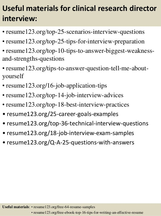 Top 8 Clinical Research Director Resume Samples