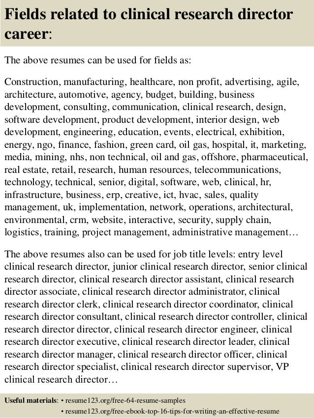 Amazing Top 8 Clinical Research Director Resume Samples