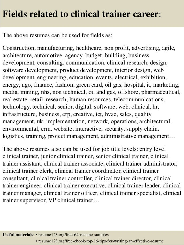 Top 8 clinical trainer resume samples