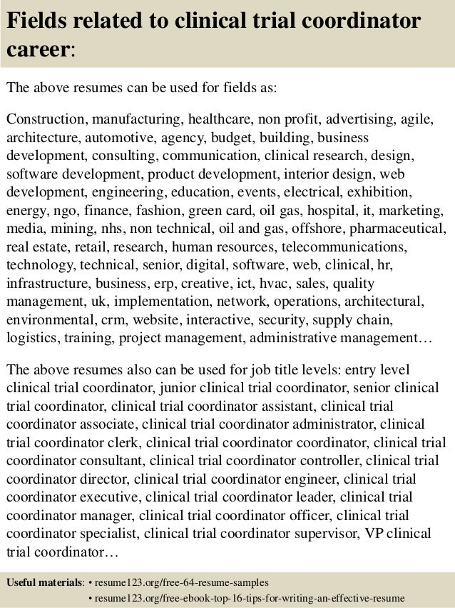clinical research coordinator resume example. parasitologist resume ...
