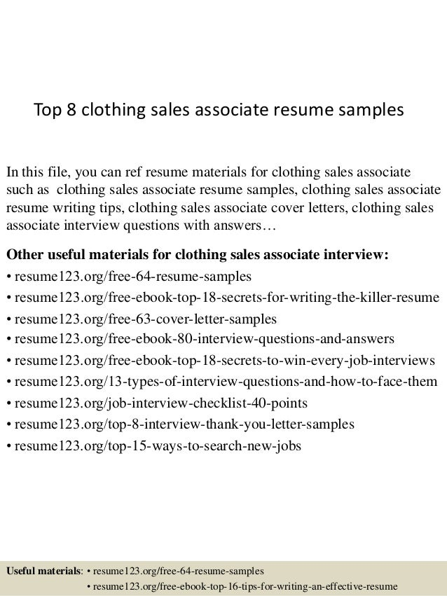 top 8 clothing sales associate resume samples
