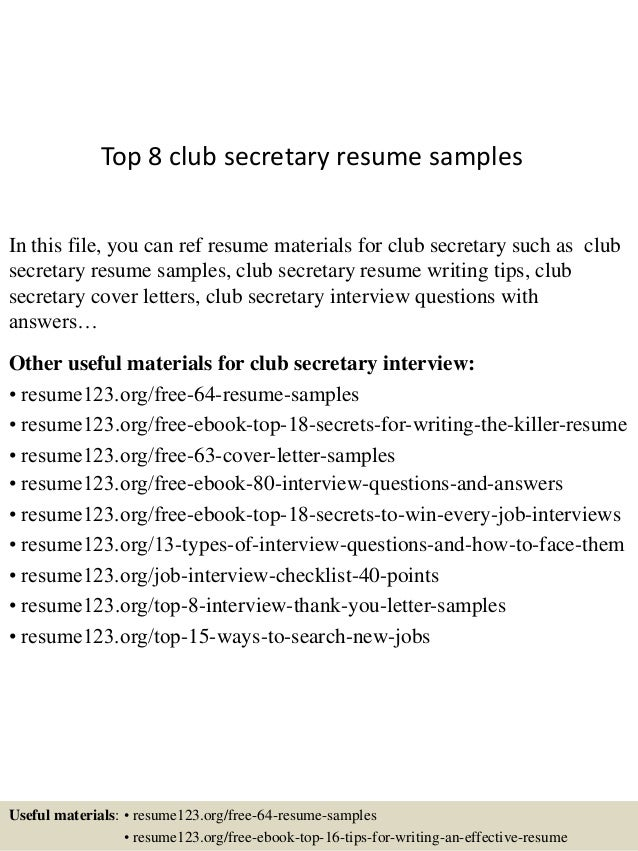 top 8 club secretary resume samples in this file you can ref resume materials for - Resume For Secretaries