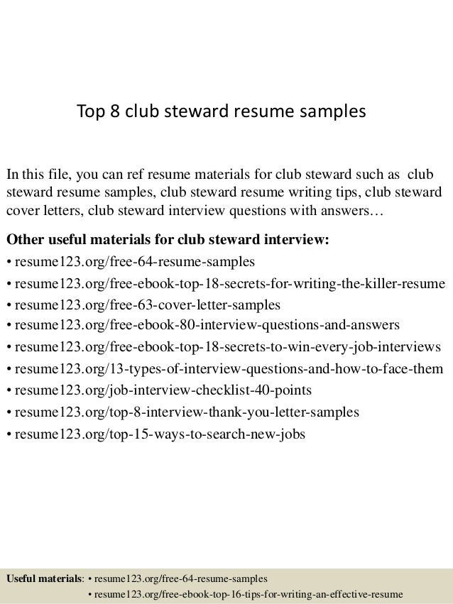 Top 8 club steward resume samples In this file, you can ref resume materials for club steward such as club steward resume ...