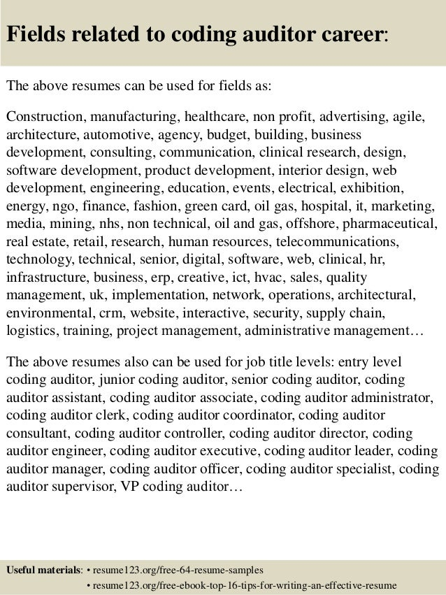 Top 8 coding auditor resume samples