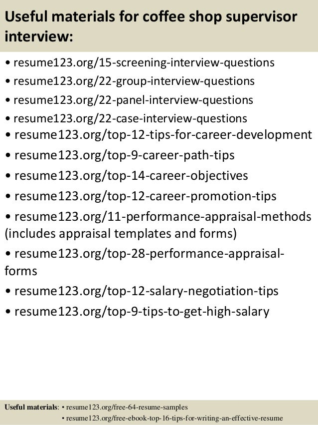Top 8 coffee shop supervisor resume samples