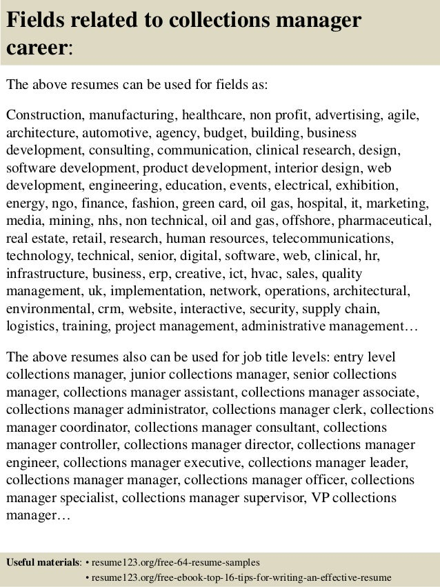 Collections Manager Resume. debt collection manager sample resume ...