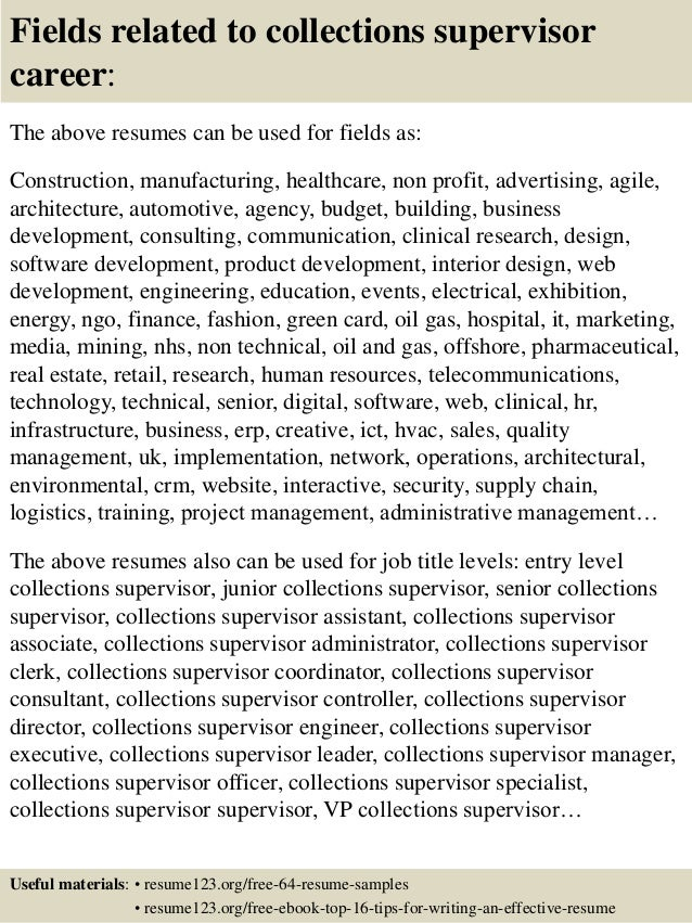 Nice ... 16. Fields Related To Collections Supervisor ...