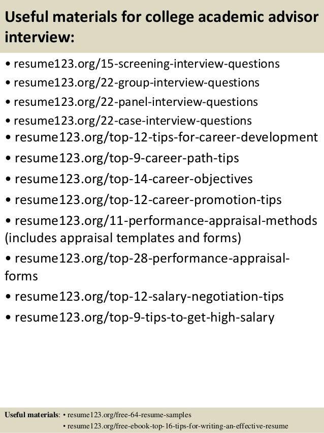top 8 college academic advisor resume samples
