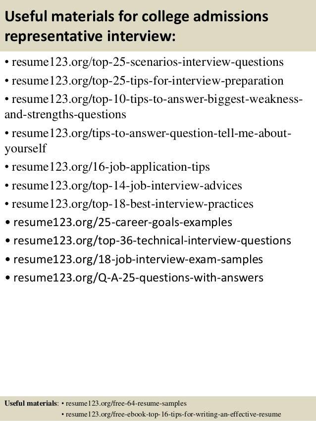 ... 13. Useful Materials For College Admissions Representative ...