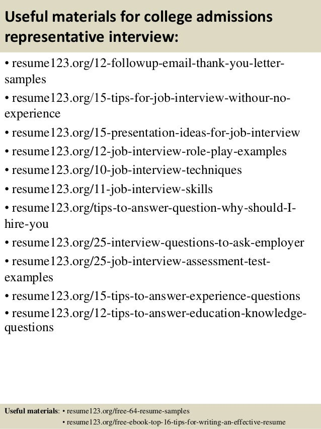 top 8 college admissions representative resume samples