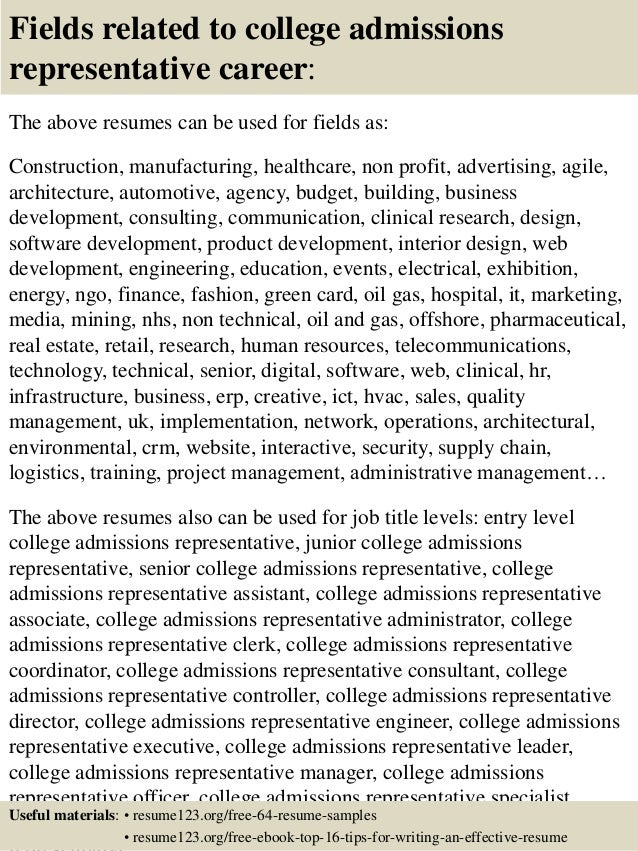 Top 8 College Admissions Representative Resume Samples 16 Fields Related To