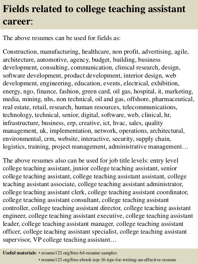 16 Fields Related To College Teaching Assistant