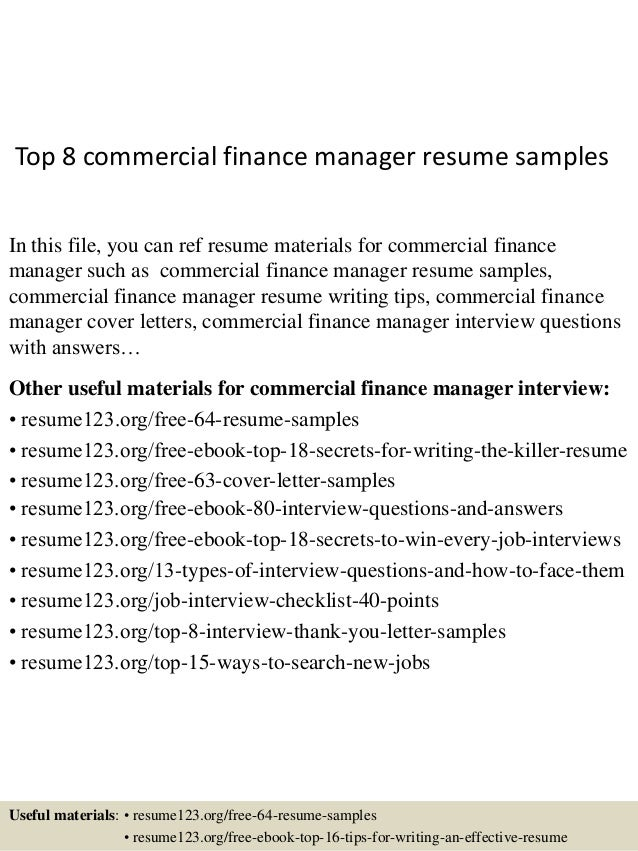 Top 8 Commercial Finance Manager Resume Samples In This File, You Can Ref  Resume Materials ...