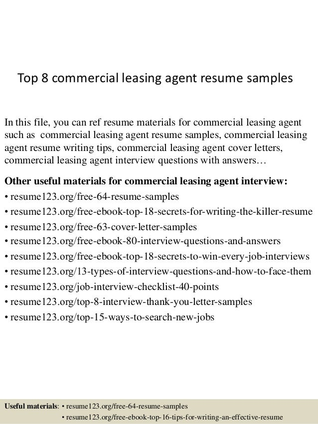 Top 8 Commercial Leasing Agent Resume Samples In This File You Can Ref Materials