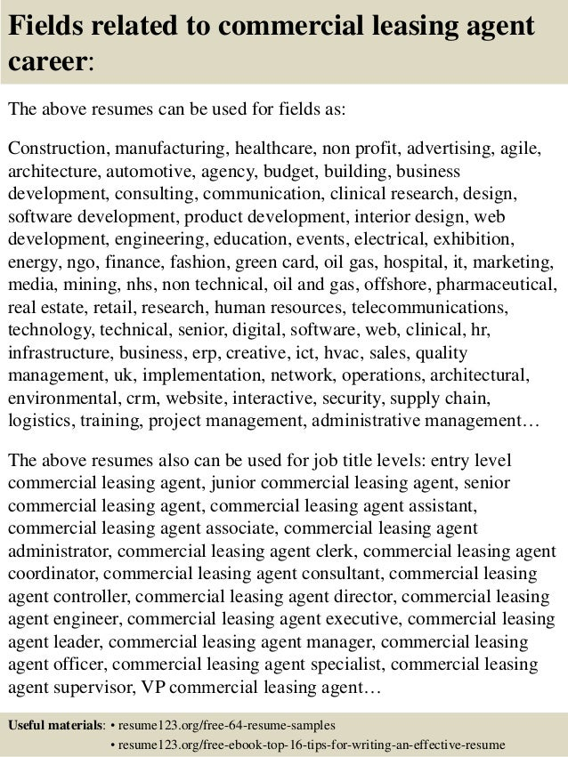 16 fields related to commercial leasing agent - Leasing Agent Sample Resume