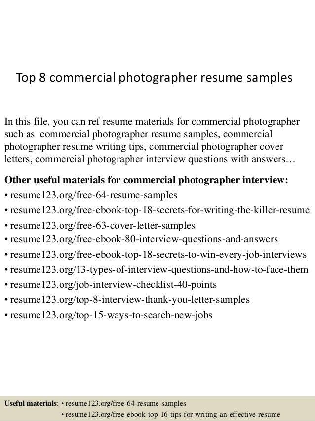 Photographer Resume. TopCommercialPhotographerResumeSamplesJpgCb