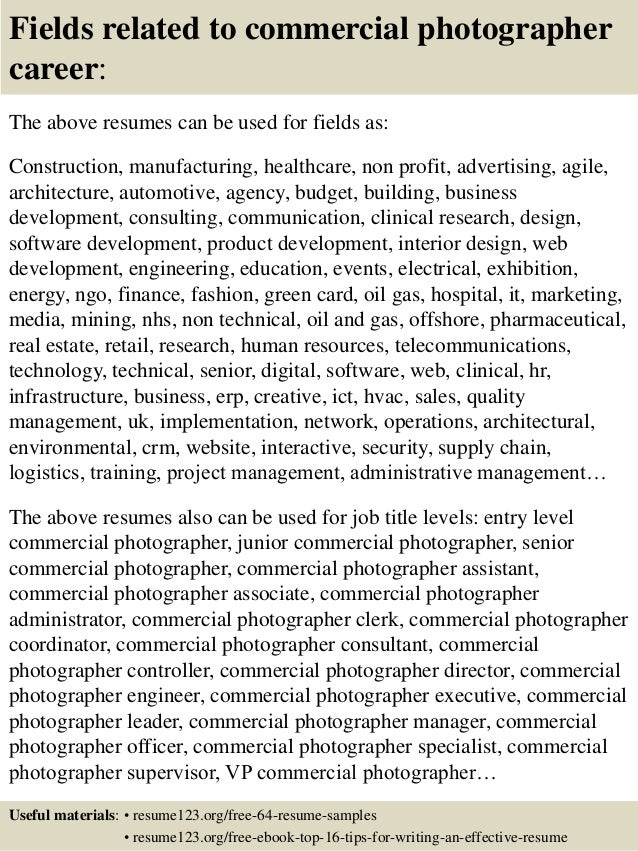 16 fields related to commercial photographer. Resume Example. Resume CV Cover Letter