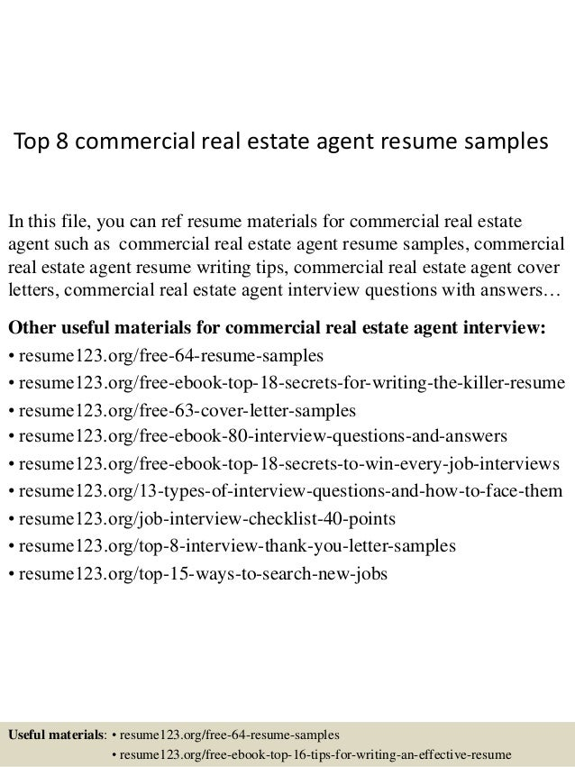 top 8 commercial real estate agent resume samples in this file you can ref resume