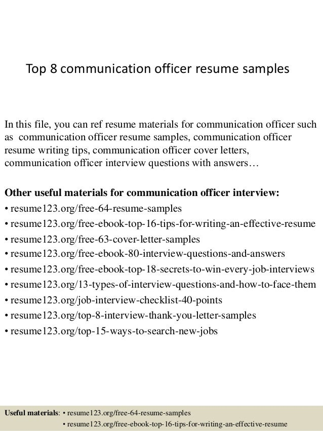 Top 8 Communication Officer Resume Samples In This File, You Can Ref Resume  Materials For ...