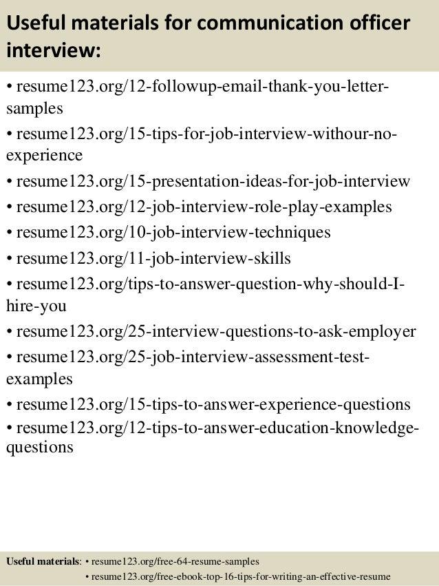 top 8 communication officer resume samples