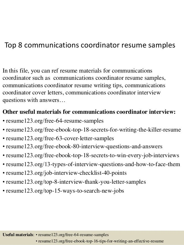 Top 8 communications coordinator resume samples