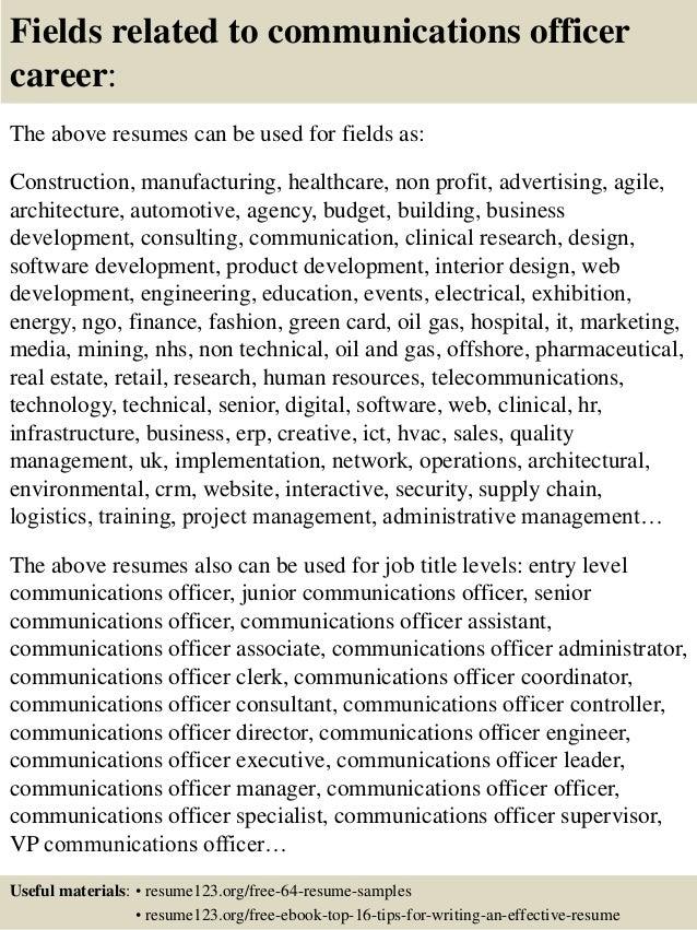 Sample cover letter communications officer