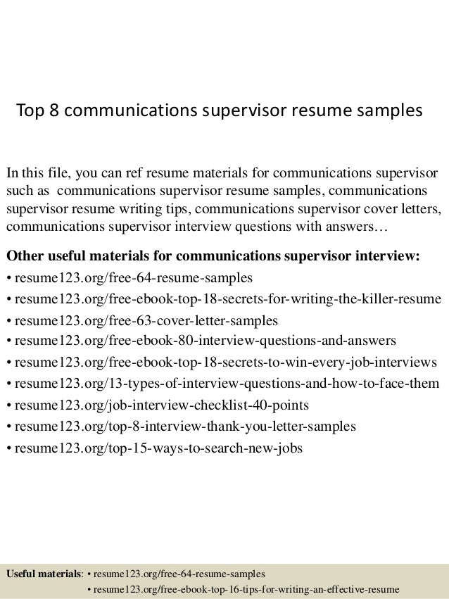 Top 8 Communications Supervisor Resume Samples In This File, You Can Ref  Resume Materials For ...