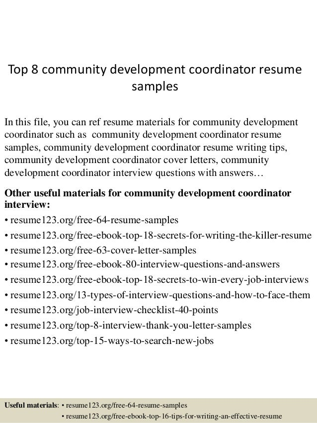 top 8 community development coordinator resume samples in this file you can ref resume materials