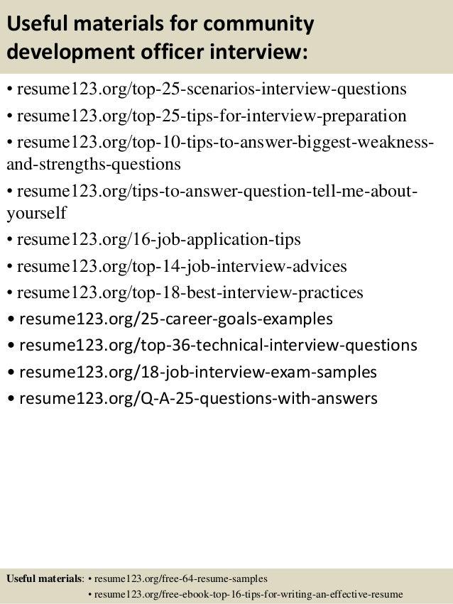 top 8 community development officer resume sles