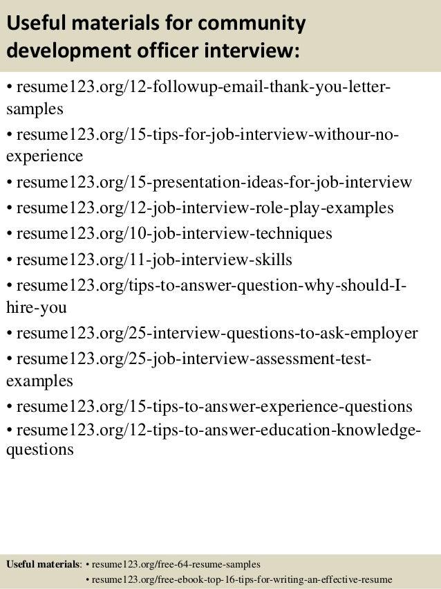 14 useful materials for community development - Community Development Manager Sample Resume