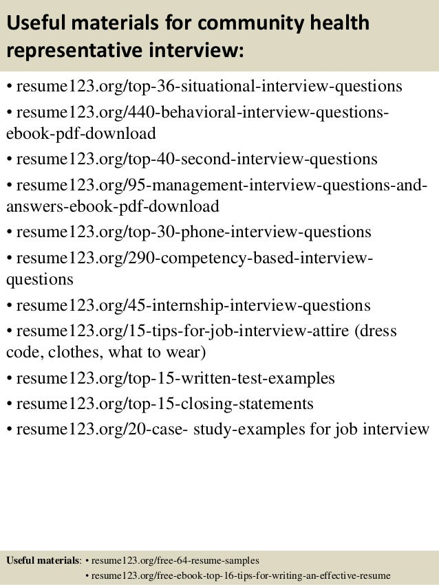 12 useful materials for community health representative - Community Health Representative Sample Resume