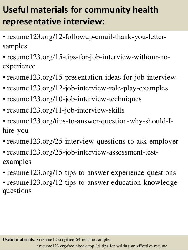 14 useful materials for community health representative - Community Health Representative Sample Resume