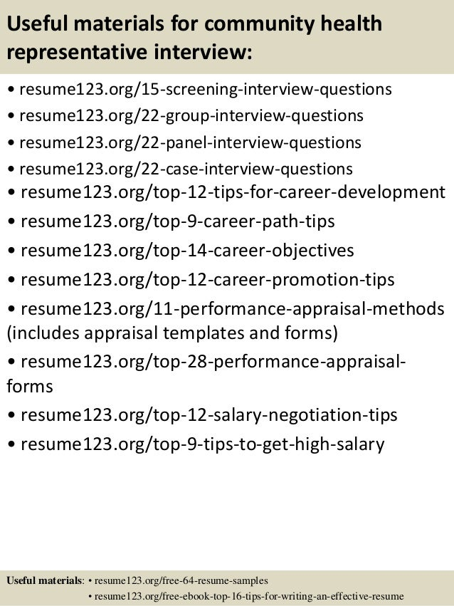 15 useful materials for community health representative - Community Health Representative Sample Resume