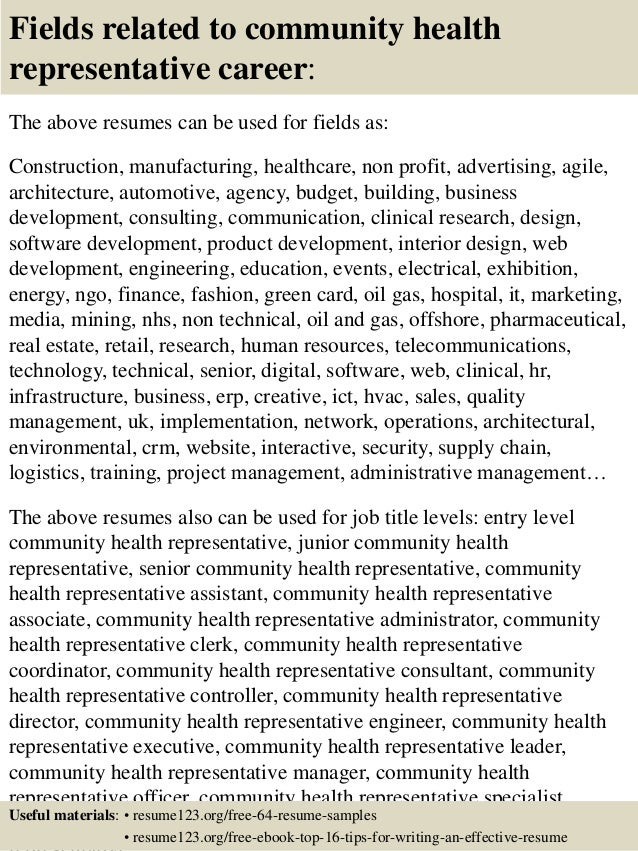 16 fields related to community health representative - Community Health Representative Sample Resume