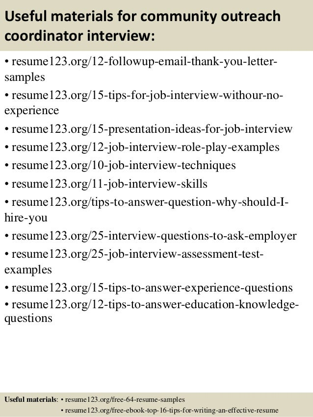 top 8 community outreach coordinator resume samples