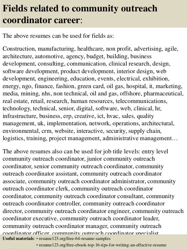 16. Fields Related To Community Outreach .