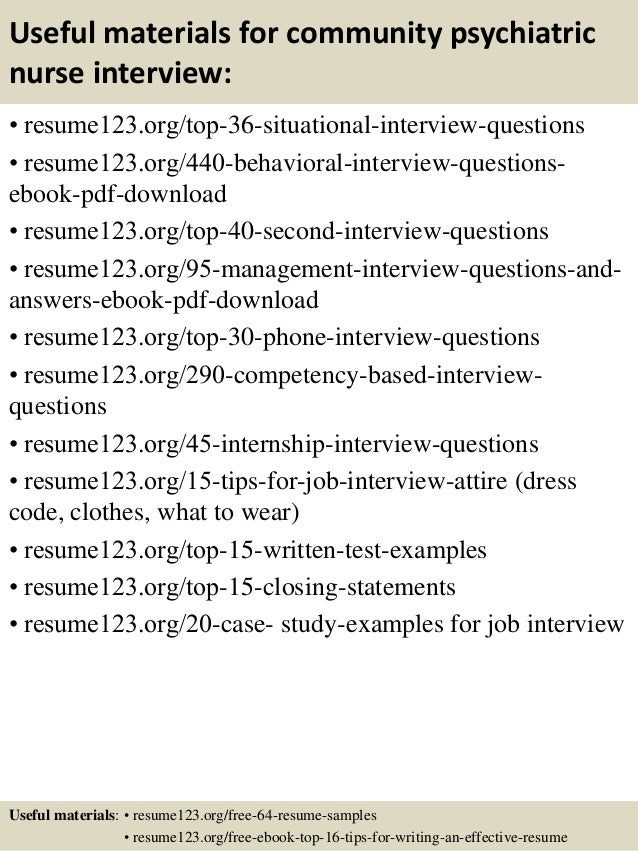 12 useful materials for community psychiatric nurse - Psychiatric Nurse Resume