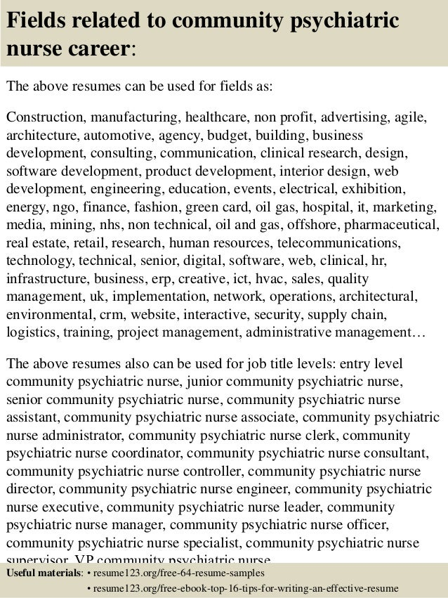 16 fields related to community psychiatric nurse