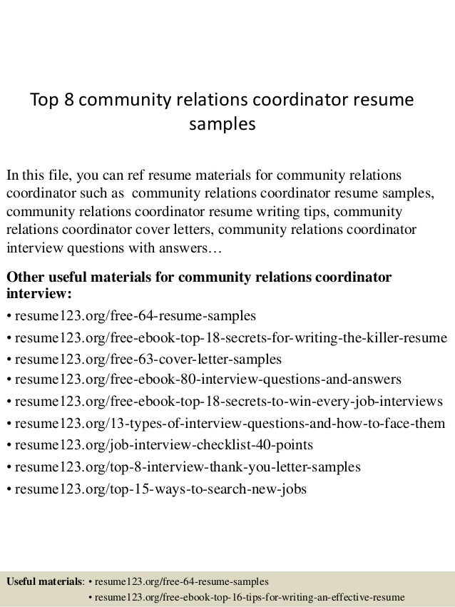 top 8 community relations coordinator resume samples