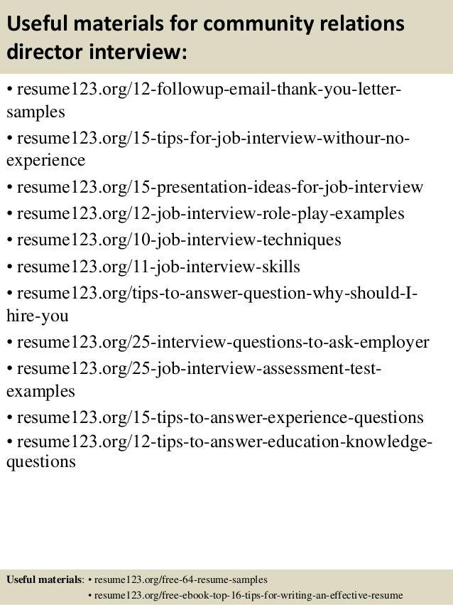 top 8 community relations director resume samples