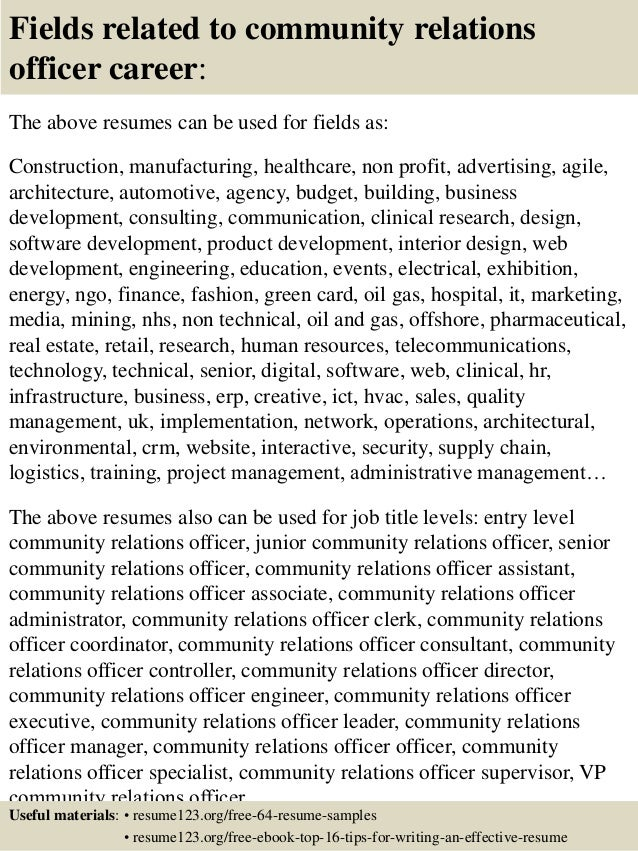 ... 16. Fields related to community relations ...